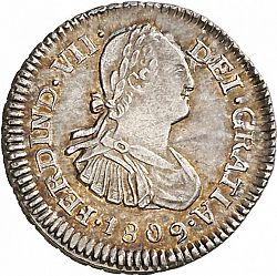 Large Obverse for 1/2 Real 1809 coin