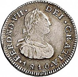 Large Obverse for 1/2 Real 1810 coin