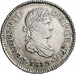Large Obverse for 1/2 Real 1813 coin