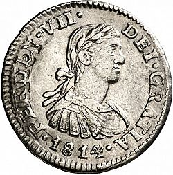 Large Obverse for 1/2 Real 1814 coin