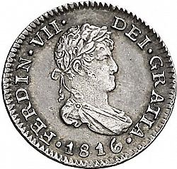Large Obverse for 1/2 Real 1816 coin