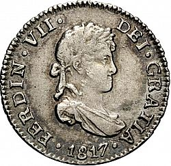 Large Obverse for 1/2 Real 1817 coin