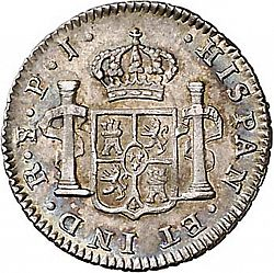 Large Reverse for 1/2 Real 1818 coin