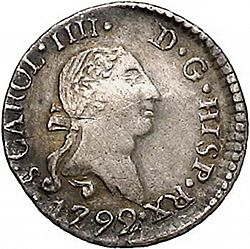 Large Obverse for 1/4 Real 1792 coin