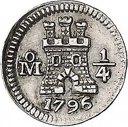 Large Obverse for 1/4 Real 1796 coin