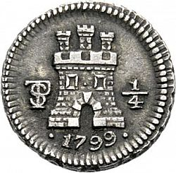 Large Obverse for 1/4 Real 1799 coin