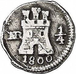 Large Obverse for 1/4 Real 1800 coin