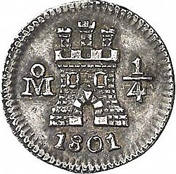 Large Obverse for 1/4 Real 1801 coin
