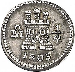 Large Obverse for 1/4 Real 1803 coin