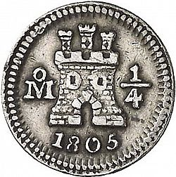 Large Obverse for 1/4 Real 1805 coin
