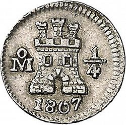 Large Obverse for 1/4 Real 1807 coin