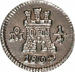 Large Obverse for 1/4 Real 1809 coin