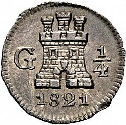 Large Obverse for 1/4 Real 1821 coin