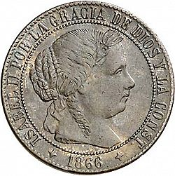 Large Obverse for 1 Céntimo Escudo 1866 coin