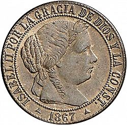 Large Obverse for 1 Céntimo Escudo 1867 coin