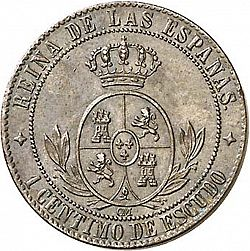 Large Reverse for 1 Céntimo Escudo 1866 coin