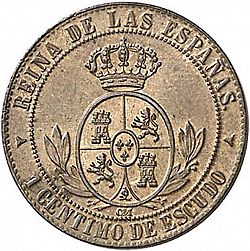Large Reverse for 1 Céntimo Escudo 1867 coin