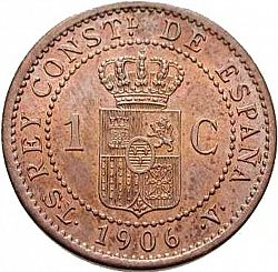Large Reverse for 1 Céntimo 1906 coin