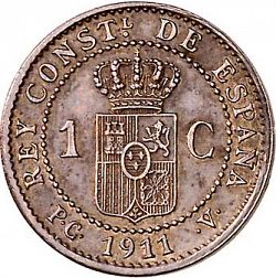 Large Reverse for 1 Céntimo 1911 coin