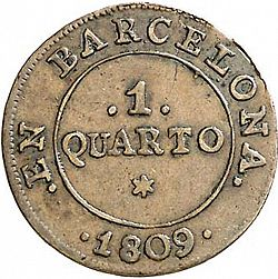 Large Reverse for 1 Cuarto 1809 coin