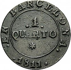 Large Reverse for 1 Cuarto 1811 coin
