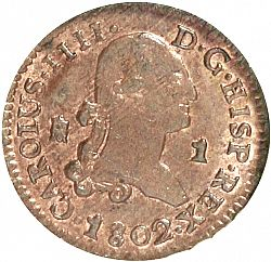 Large Obverse for 1 Maravedí 1802 coin