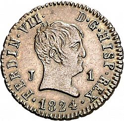 Large Obverse for 1 Maravedí 1824 coin