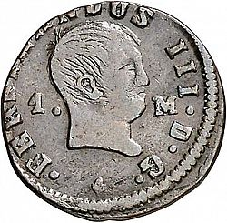 Large Obverse for 1 Maravedí 1832 coin