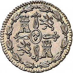 Large Reverse for 1 Maravedí 1824 coin