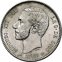 Large Obverse for 1 Peseta 1882 coin
