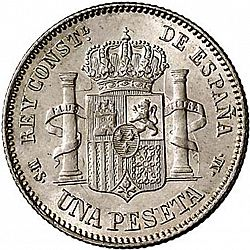Large Reverse for 1 Peseta 1882 coin