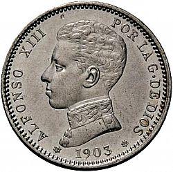 Large Obverse for 1 Peseta 1903 coin