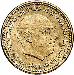 Large Obverse for 1 Peseta 1953 coin
