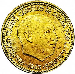 Large Obverse for 1 Peseta 1963 coin