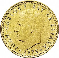 Large Obverse for 1 Peseta 1975 coin