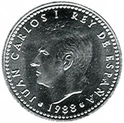 Large Obverse for 1 Peseta 1988 coin
