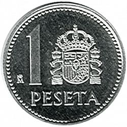 Large Reverse for 1 Peseta 1986 coin