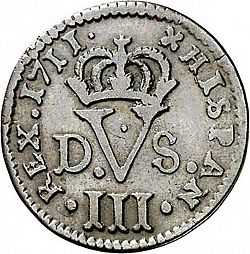 Large Reverse for 1 Treseta 1711 coin