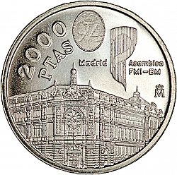Large Reverse for 2000 Pesetas 1994 coin