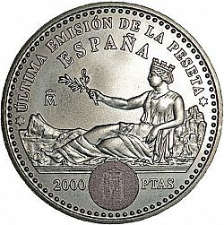 Large Reverse for 2000 Pesetas 2001 coin