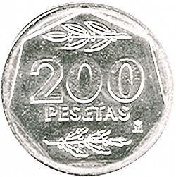 Large Reverse for 200 Pesetas 1988 coin