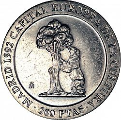 Large Reverse for 200 Pesetas 1992 coin