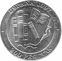 Large Reverse for 200 Pesetas 1997 coin