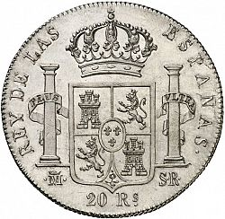 Large Reverse for 20 Reales 1821 coin