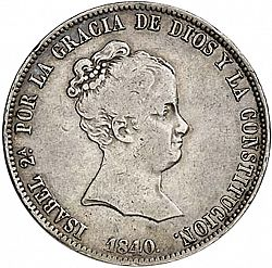 Large Obverse for 20 Reales 1840 coin