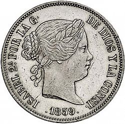 Large Obverse for 20 Reales 1859 coin