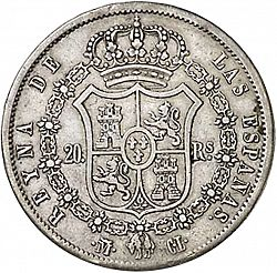Large Reverse for 20 Reales 1840 coin