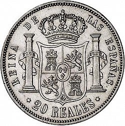 Large Reverse for 20 Reales 1859 coin