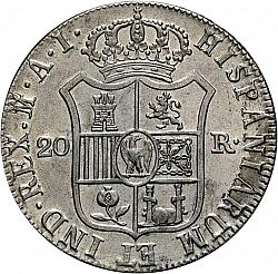 Large Reverse for 20 Reales 1808 coin