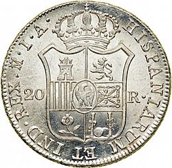 Large Reverse for 20 Reales 1810 coin